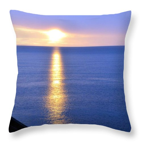 Michigan Throw Pillow featuring the photograph Sunrise On Whitefish Bay by Lorraine Paffenroth