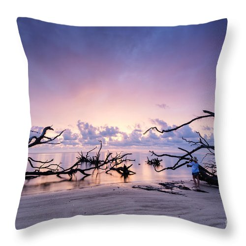 Sunrise Throw Pillow featuring the photograph Sunrise Over Blackrock Beach by Dawna Moore Photography