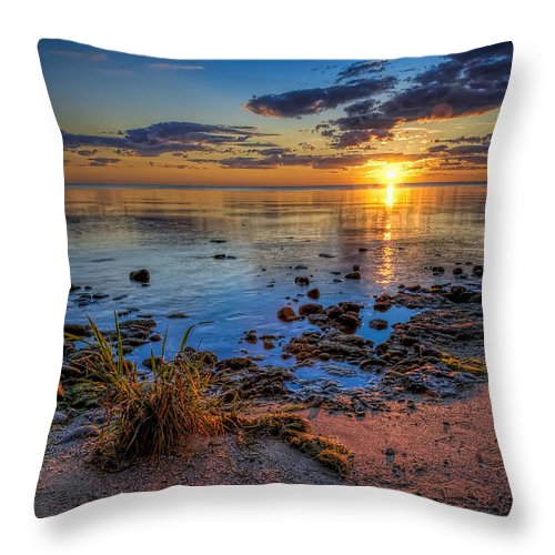 Sun Throw Pillow featuring the photograph Sunrise Over Lake Michigan by Scott Norris