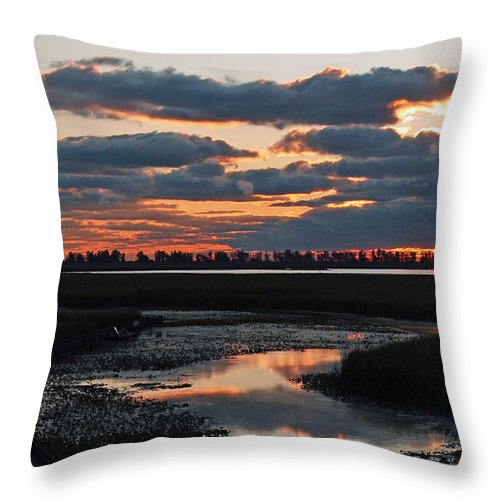 Sunrise Throw Pillow featuring the photograph Sunrise Over Point Pelee Provincial Park by Inspired Nature Photography Fine Art Photography