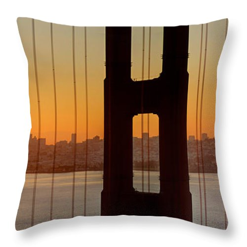 Sunrise Throw Pillow featuring the photograph Sunrise Over San Francisco Bay Through Golden Gate Bridge by Jit Lim