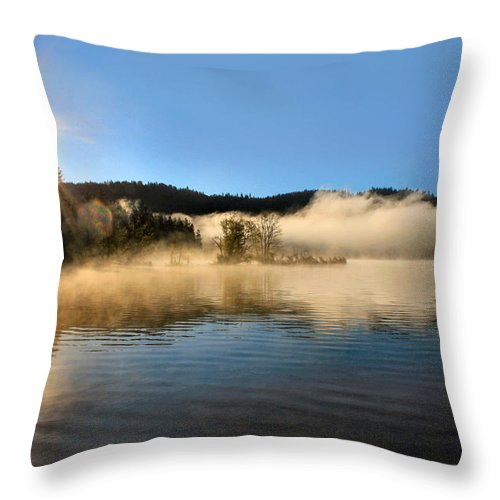 Lake Throw Pillow featuring the photograph Sunrise Over Scotts Flat Lake by Sally Bauer