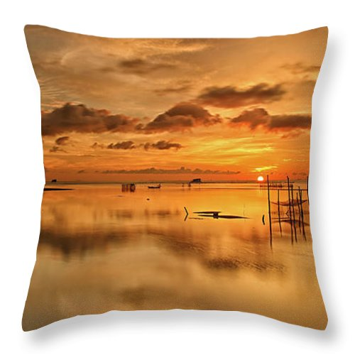 Scenics Throw Pillow featuring the photograph Sunrise, Phu Quoc, Vietnam by Huyenhoang
