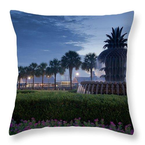 Charleston Throw Pillow featuring the photograph Sunrise Pineapple Fountain by E Karl Braun