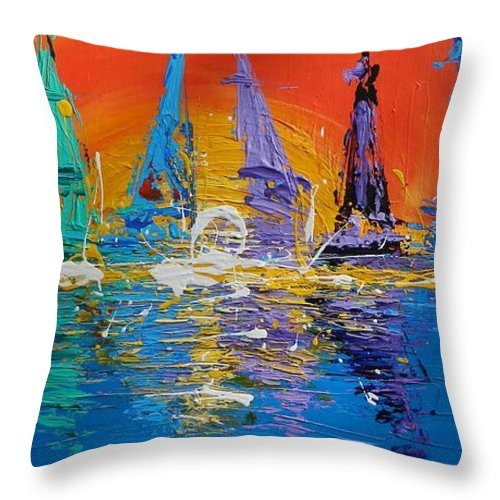 Sunrise Throw Pillow featuring the painting Sunrise Sail by Dan Campbell
