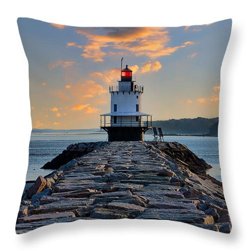 Caisson-style Throw Pillow featuring the photograph Sunrise Spring Point Ledge by Jerry Fornarotto
