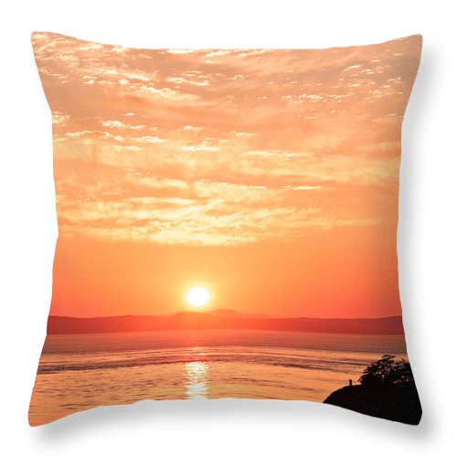 Landscape Throw Pillow featuring the photograph Sunrise - Sunset by Paul Fell