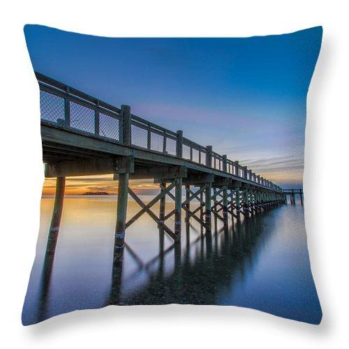 Connecticut Throw Pillow featuring the photograph Sunrise Under The Boardwalk by Randy Scherkenbach
