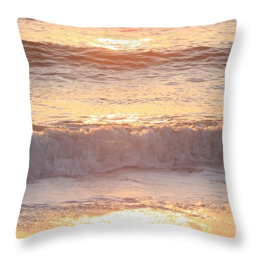 Waves Throw Pillow featuring the photograph Sunrise Waves by Nadine Rippelmeyer