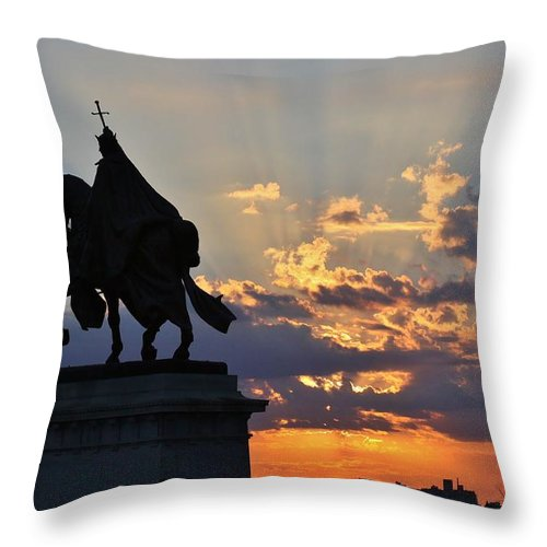 Saint Louis Throw Pillow featuring the photograph Sunrise With Saint Louis The 9th by Christopher Miles Carter