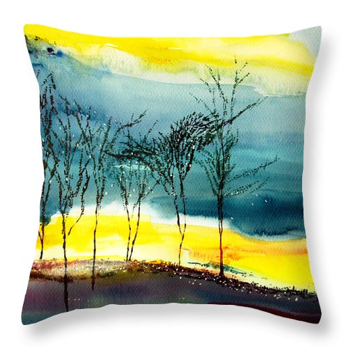Nature Throw Pillow featuring the painting Sunset 3 by Anil Nene