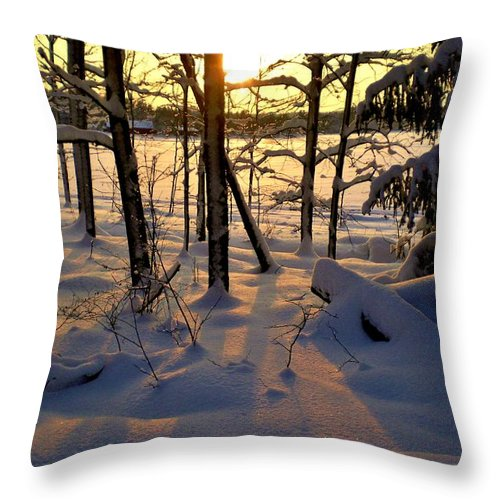 #sunset #snow # Beatiful #nature #landscape #winter #christmas #christmasfeeling #sweden #arboga #scenery #idyllic Throw Pillow featuring the photograph Sunset And Snow by Stefan Pettersson