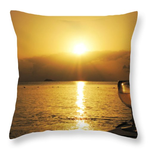 Sunset Throw Pillow featuring the photograph Sunset And Wine by Kimberly Perry