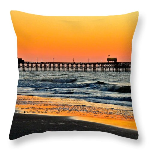 Pier Throw Pillow featuring the photograph Sunset Apache Pier by Eve Spring