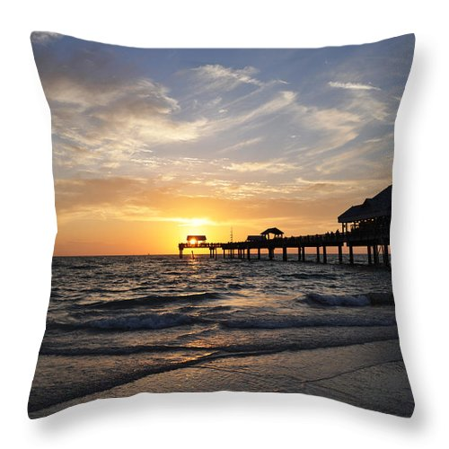 Sunset At Clearwater Throw Pillow featuring the photograph Sunset At Clearwater by Bill Cannon