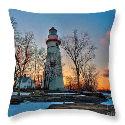 Lighthouse Throw Pillow featuring the photograph Sunset At Marblehead Lighthouse by Nick Zelinsky
