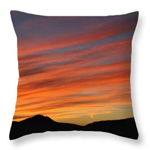 Sun Set At Mt. Ord Throw Pillow featuring the photograph Sunset At Mt. Ord by Tom Janca