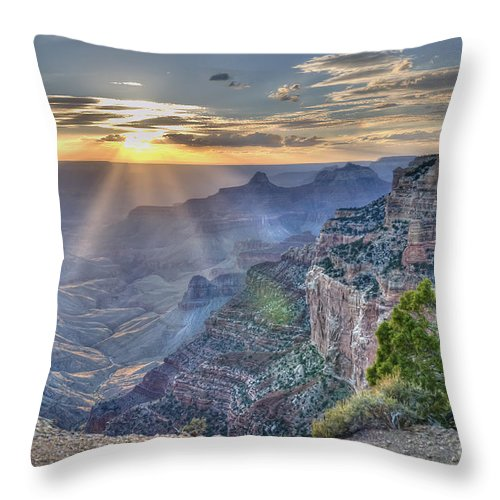 Sunset Throw Pillow featuring the photograph Sunset At Northern Rim Of The Grand Canyon by Wanda Krack