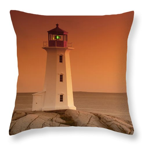 Atlantic Throw Pillow featuring the photograph Sunset At Peggy's Cove Lighthouse by Norman Pogson