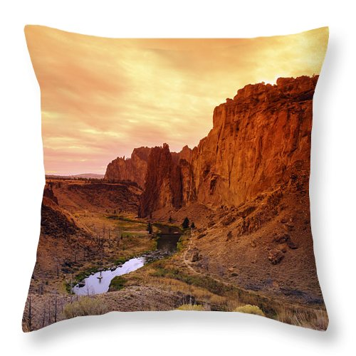 Sunset Throw Pillow featuring the photograph Sunset At Smith Rock by Glen Wilkerson