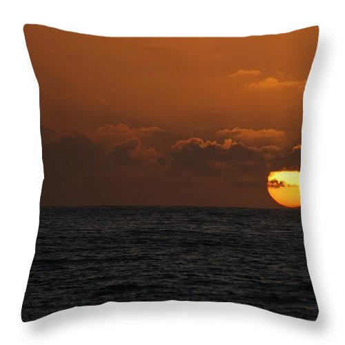 The Sun At St Ives Throw Pillow featuring the photograph Sunset At St Ives by Jenny Potter