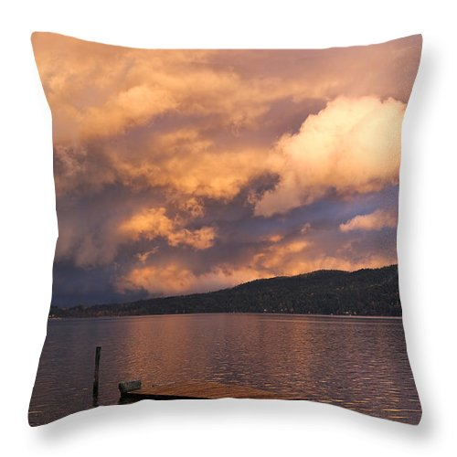 Sunset Throw Pillow featuring the photograph Sunset At The Dock by Louise Heusinkveld