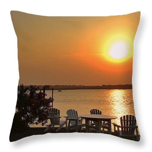 Sunset Throw Pillow featuring the photograph Sunset At The Docks by Amy Lucid