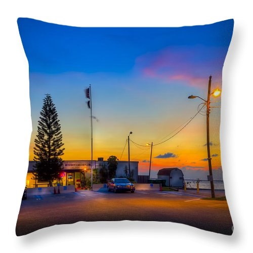 War Vets Throw Pillow featuring the photograph Sunset At The Post by Marvin Spates