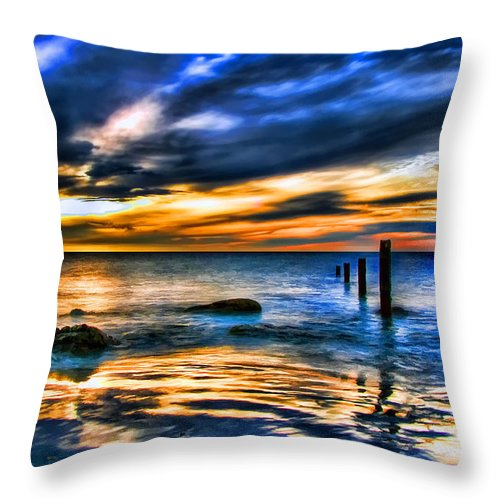 Sunset Throw Pillow featuring the painting Sunset At Washed Out Pier by Elaine Plesser