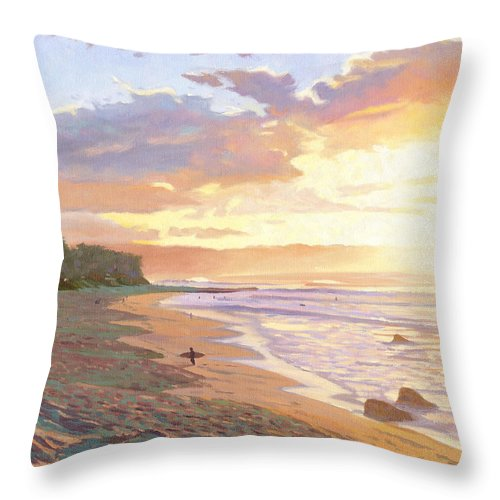Sunset Beach Throw Pillow featuring the painting Sunset Beach - Oahu by Steve Simon