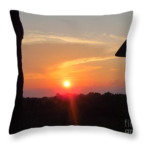 Sun Throw Pillow featuring the photograph Sunset Between Tree And Barn by Tina M Wenger