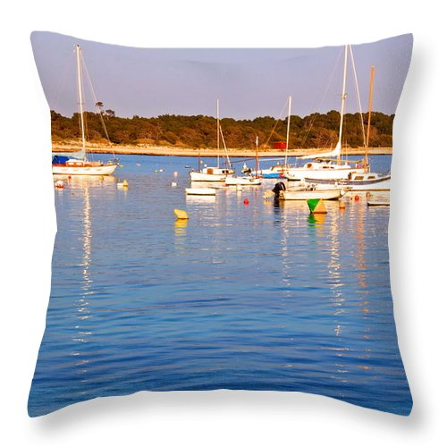 Boats Throw Pillow featuring the photograph Sunset Boats by Galexa Ch