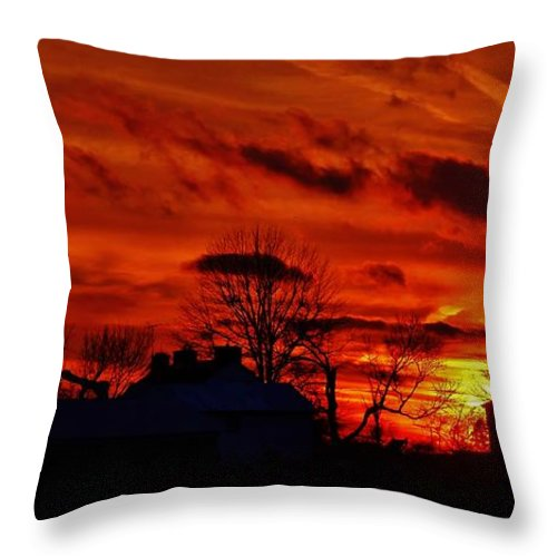 Sunset Throw Pillow featuring the photograph Sunset Down On The Farm by Greg Kear