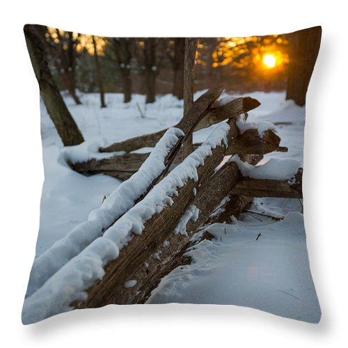 Sunset Throw Pillow featuring the photograph Sunset Fence by Scott Hafer