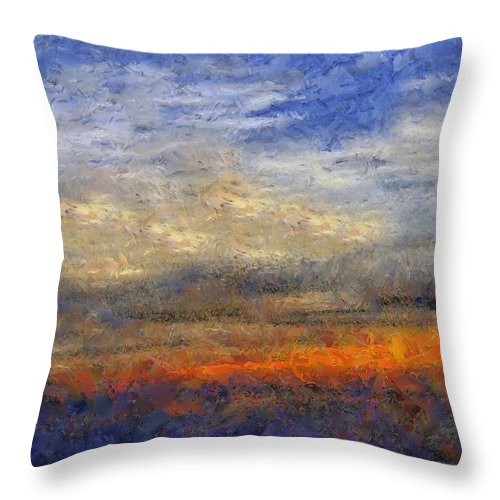 Landscape Throw Pillow featuring the painting Sunset Field by RC DeWinter