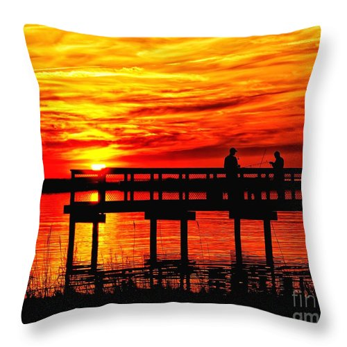 Fishing Throw Pillow featuring the photograph Sunset Fishing At The Pier by Nick Zelinsky