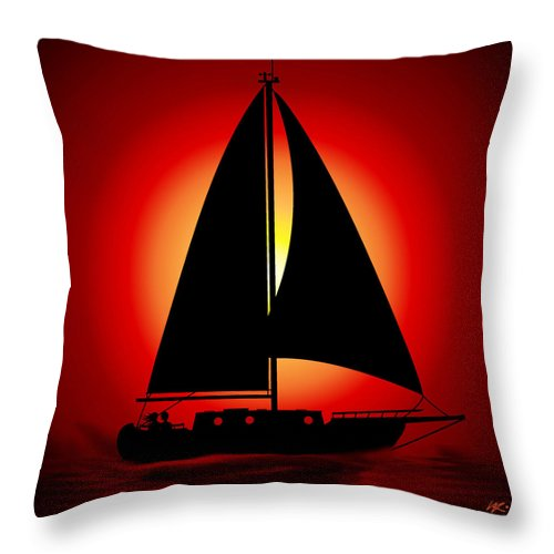 Sailboat Throw Pillow featuring the digital art Sunset For Two by Kiki Art
