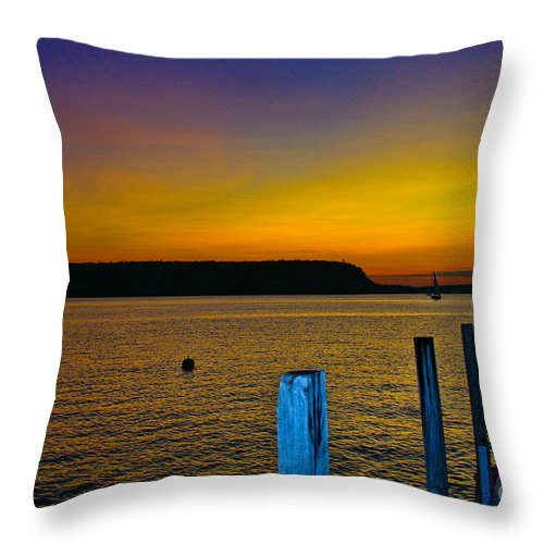 Sunset Throw Pillow featuring the photograph Sunset From Andersons Dock by Tommy Anderson