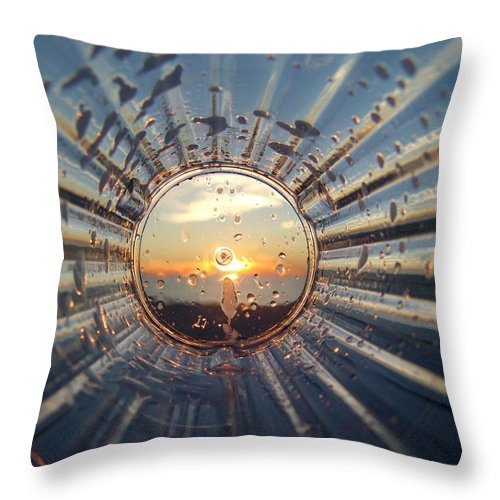 Sunset Throw Pillow featuring the photograph Adelaide Beach Sunset Glass by Ian Mcadie