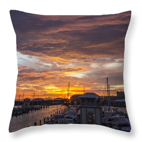 Sunset Throw Pillow featuring the photograph Sunset Harbor by Brian Wright