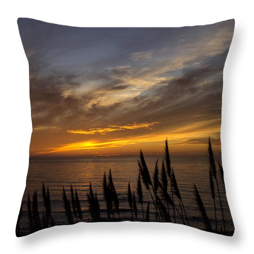 Ocean.water.clouds.orange.blue Throw Pillow featuring the photograph Sunset Hwy. 1calif. by Larry Lage