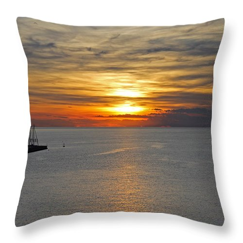 Slovenia Throw Pillow featuring the photograph Sunset In Koper by Tony Murtagh