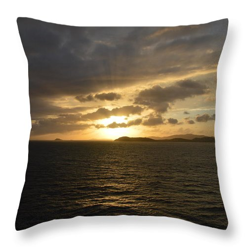 Caribbean Throw Pillow featuring the photograph Sunset In The Caribbean by Richard Booth
