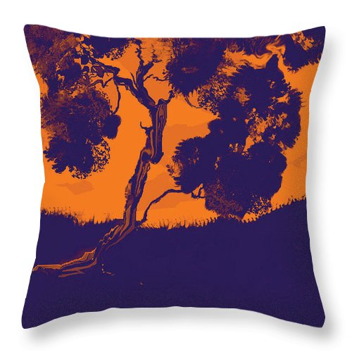 Tree Throw Pillow featuring the mixed media Sunset Madrone by Cecily Mitchell