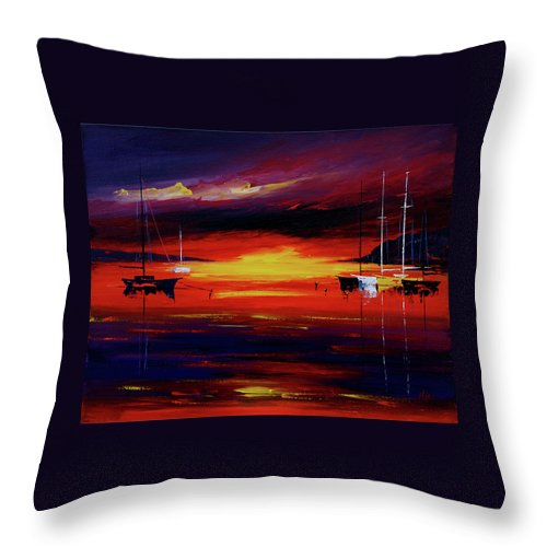 Seascapes Throw Pillow featuring the painting Sunset by Miroslav Stojkovic