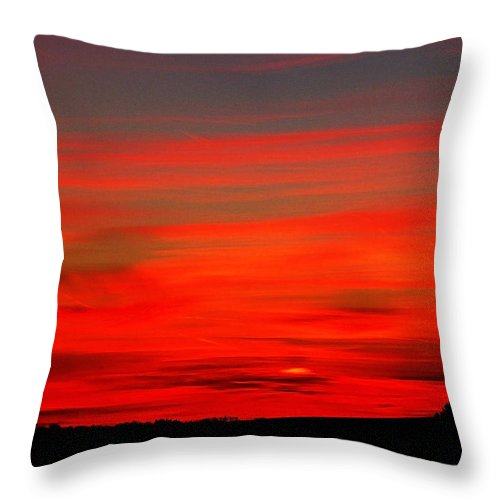 Ron Tackett Throw Pillow featuring the photograph Sunset On A Wisconsin Farm by Ron Tackett