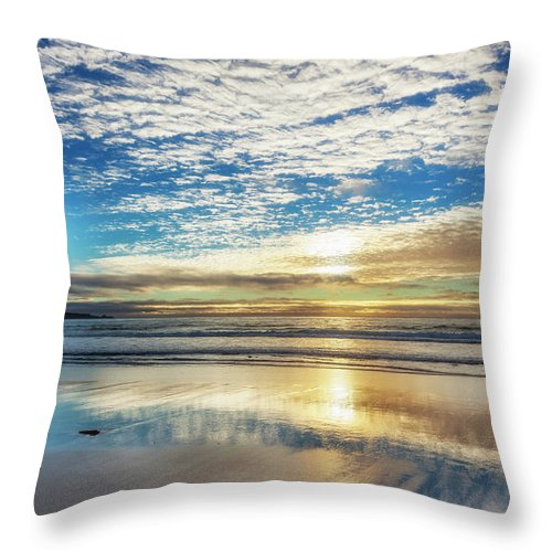 Tranquility Throw Pillow featuring the photograph Sunset On Carmel Beach, California by Alvis Upitis