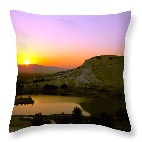 Sunset Throw Pillow featuring the photograph Sunset On Cotton Castles by Zafer Gurel