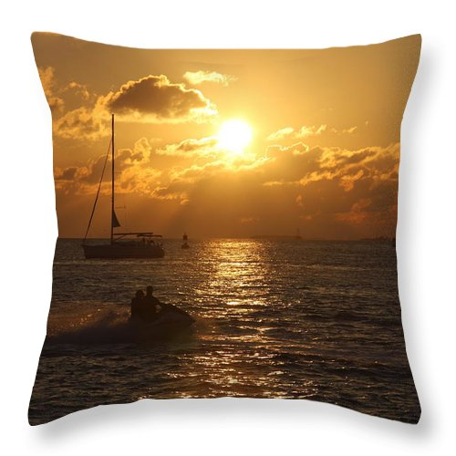Sunset Throw Pillow featuring the photograph Sunset Over Key West by Christiane Schulze Art And Photography