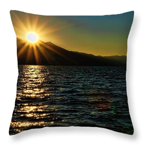 Sunset Throw Pillow featuring the photograph Sunset On Lake Tahoe By Diana Sainz by Diana Raquel Sainz